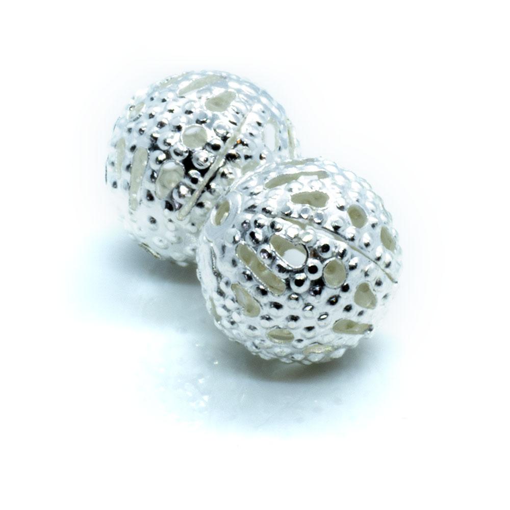 Filligree Round Metal Bead - 8mm - 2pc