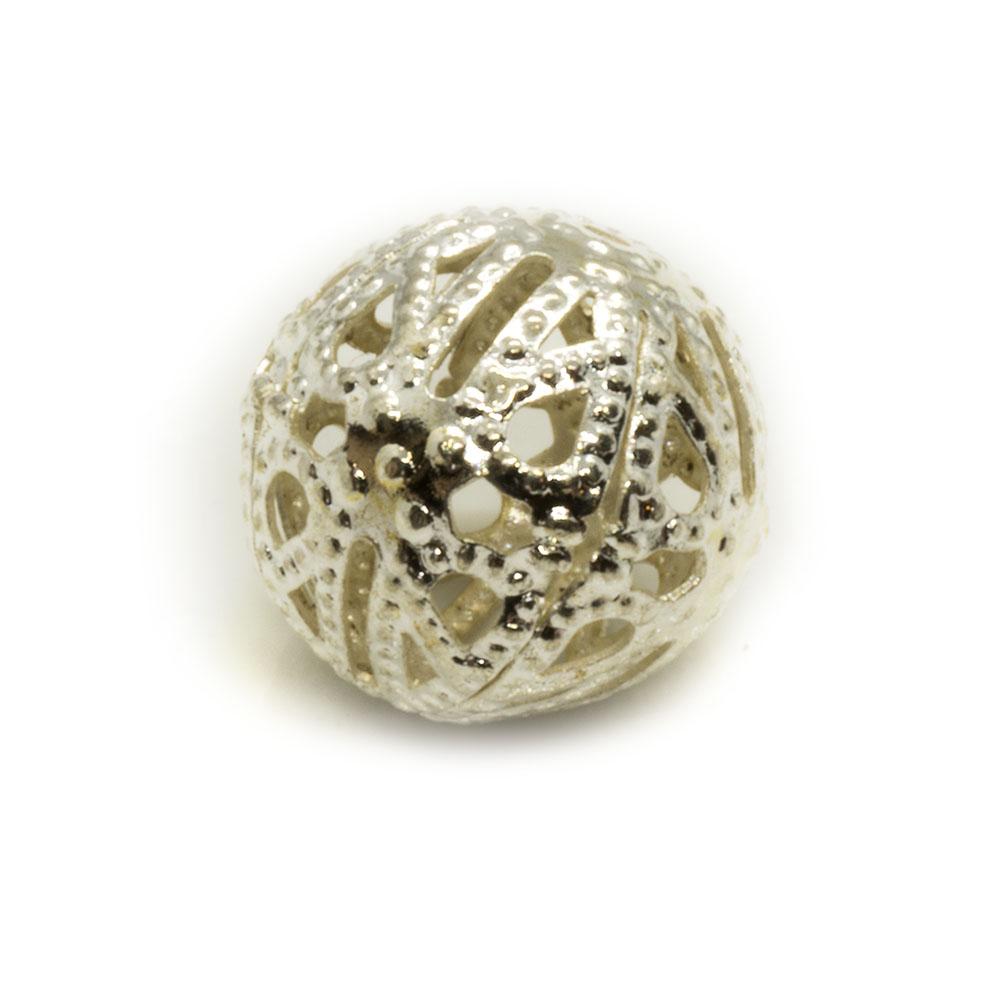 Filligree Round Metal Bead - 13mm - 2pc