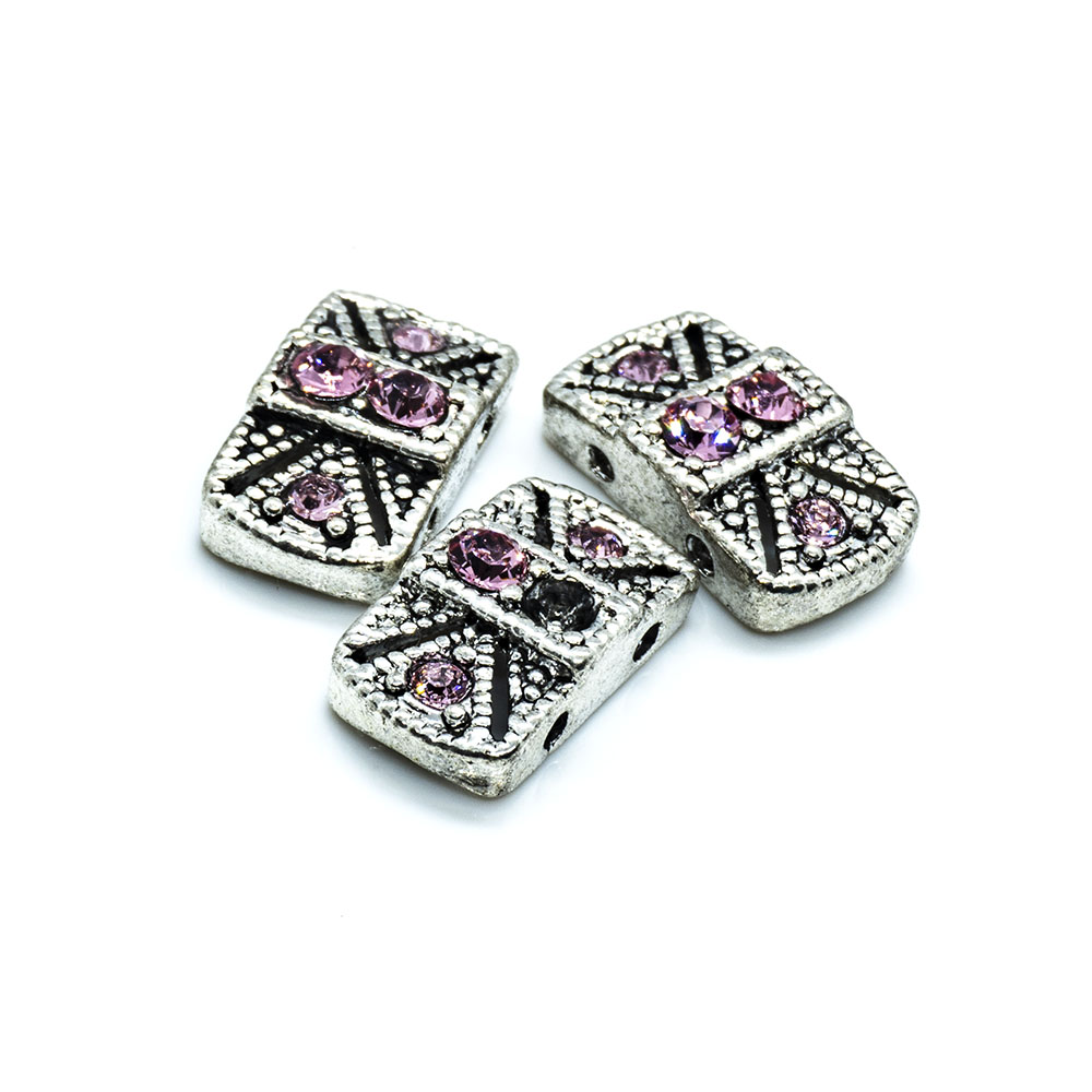 Spacer Bead with Swarovski Rectangle - 14x8x4mm