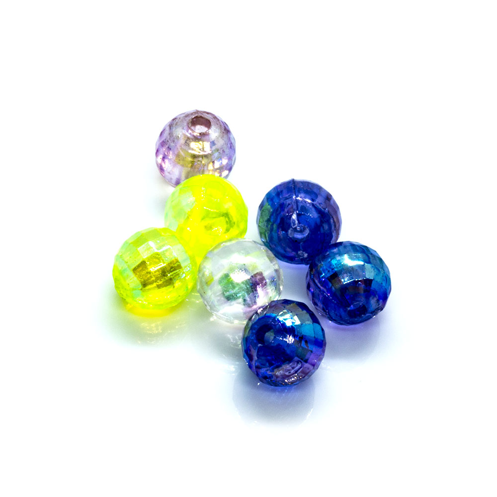 Acrylic Round Faceted Mix - 6mm - 20pc