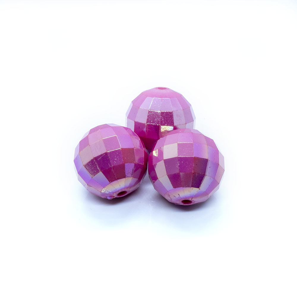 Bubblegum Acrylic Beads Faceted 20mm