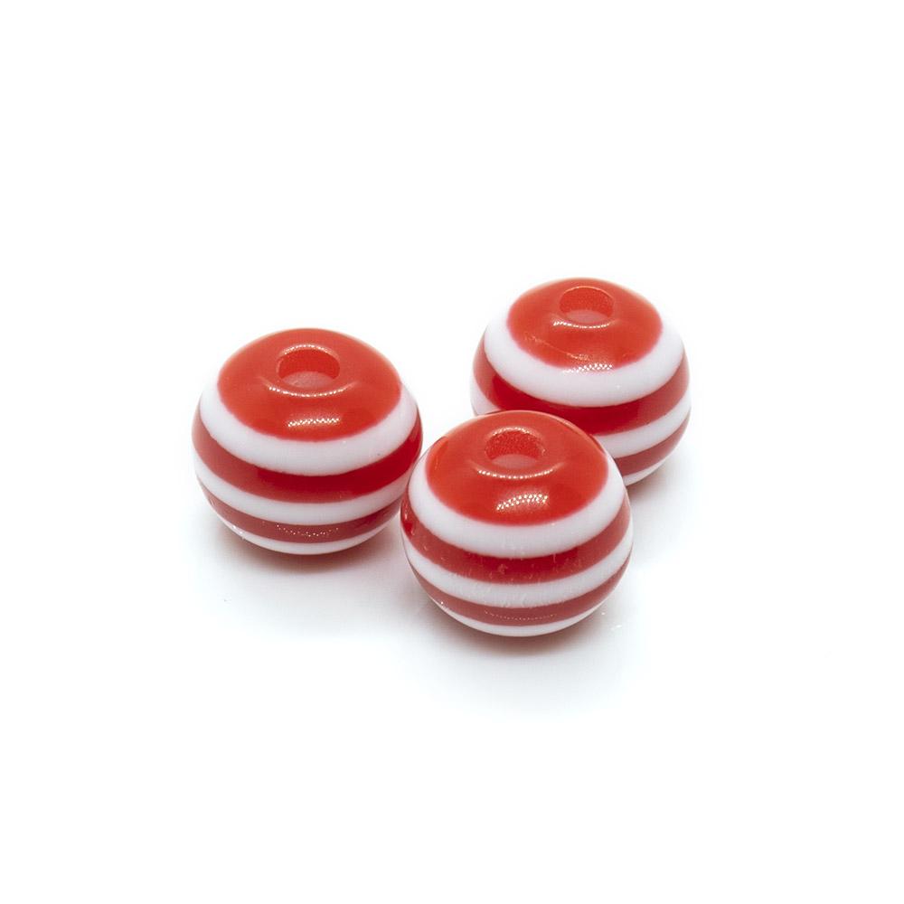 Bubblegum Striped Round Beads - 8x7mm - 10pc