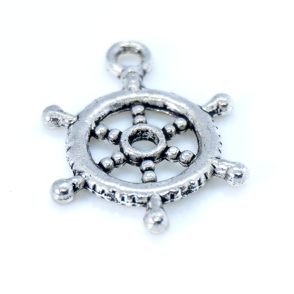 Ship's Wheel Charm - 20x18mm - 1pc