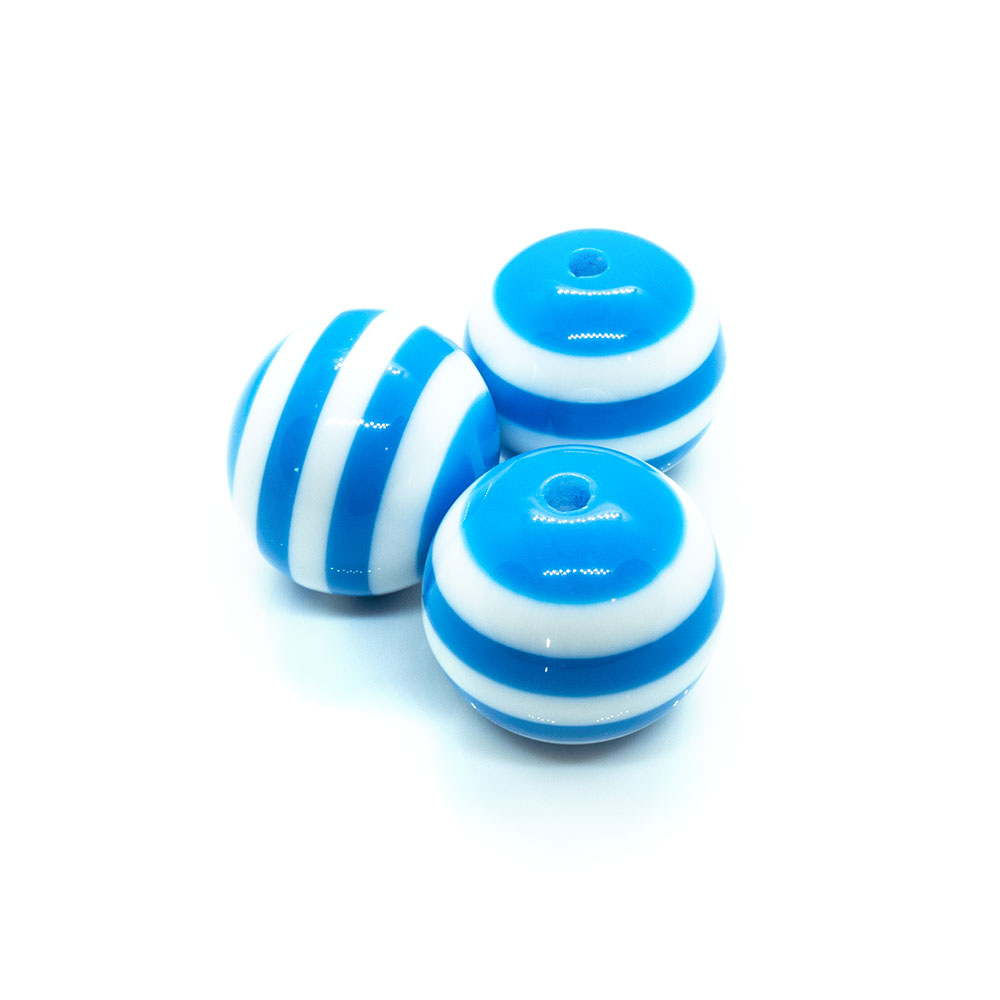 Bubblegum Striped Resin Beads - 20mm