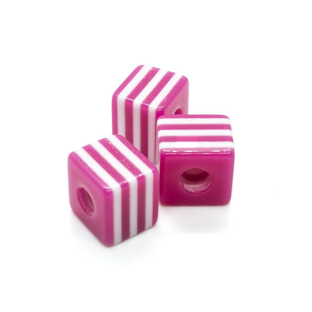 Bumblegum Striped Cubes - 10mm