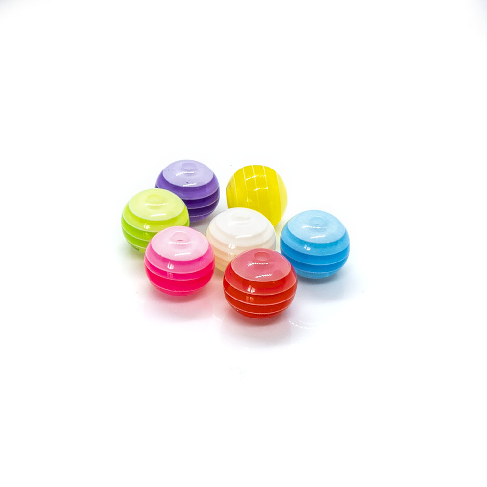 Bubblegum Striped Resin Beads - 12mm - 5pc