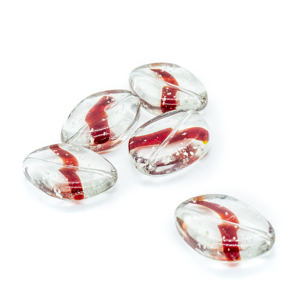 Glass Oval Crystal with Coloured Swirl - 20x15mm