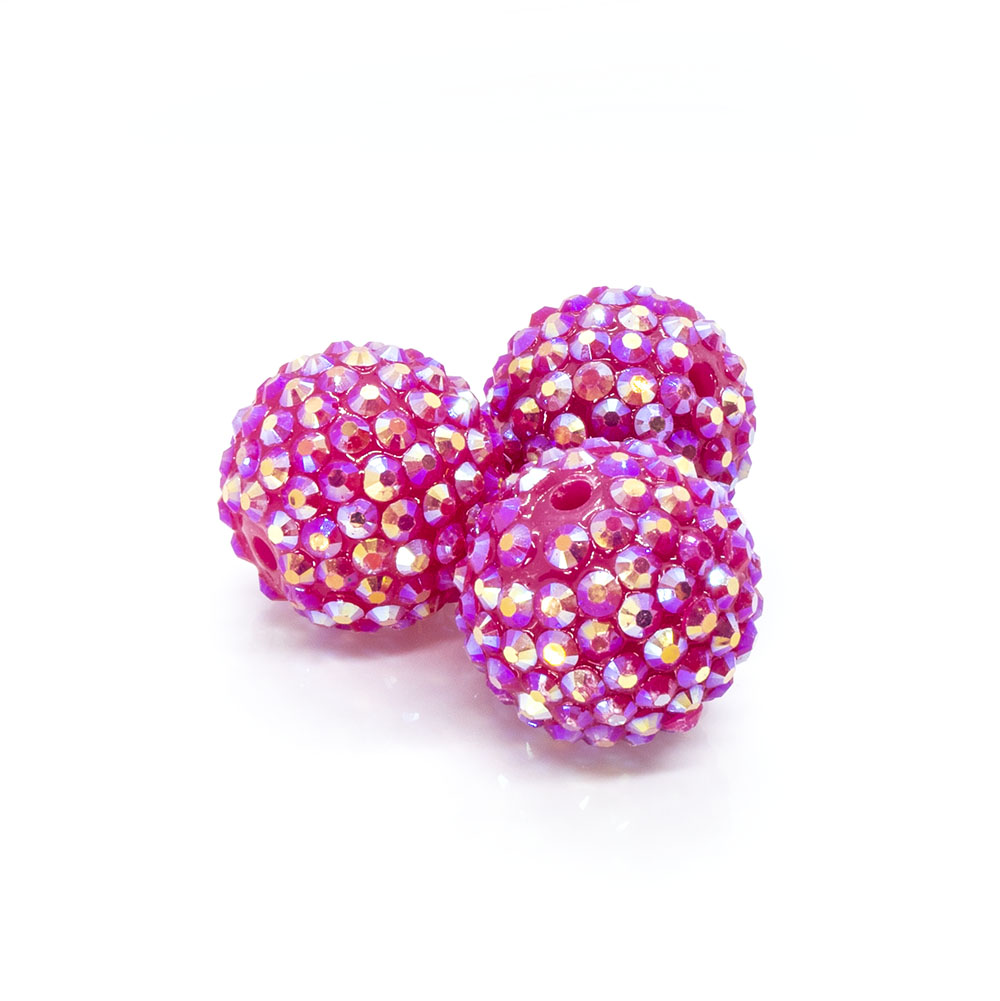 Bubblegum Resin Rhinestone Ball - 22x20mm