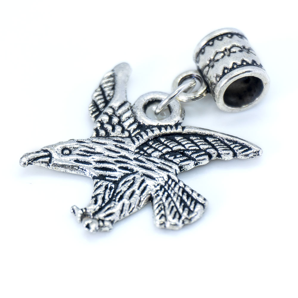 Eagle Charm with Barrel Bead Charm - 34x21mm - 1pc