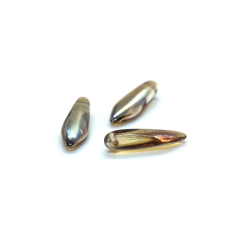 Czech Glass Daggers Crystal Celsian - 16x5mm - 2pc
