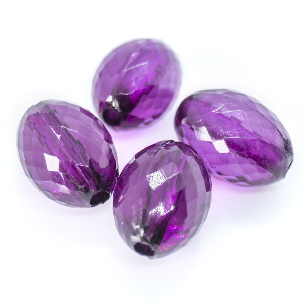 Acrylic Faceted Oval - 16x11mm - 1pc