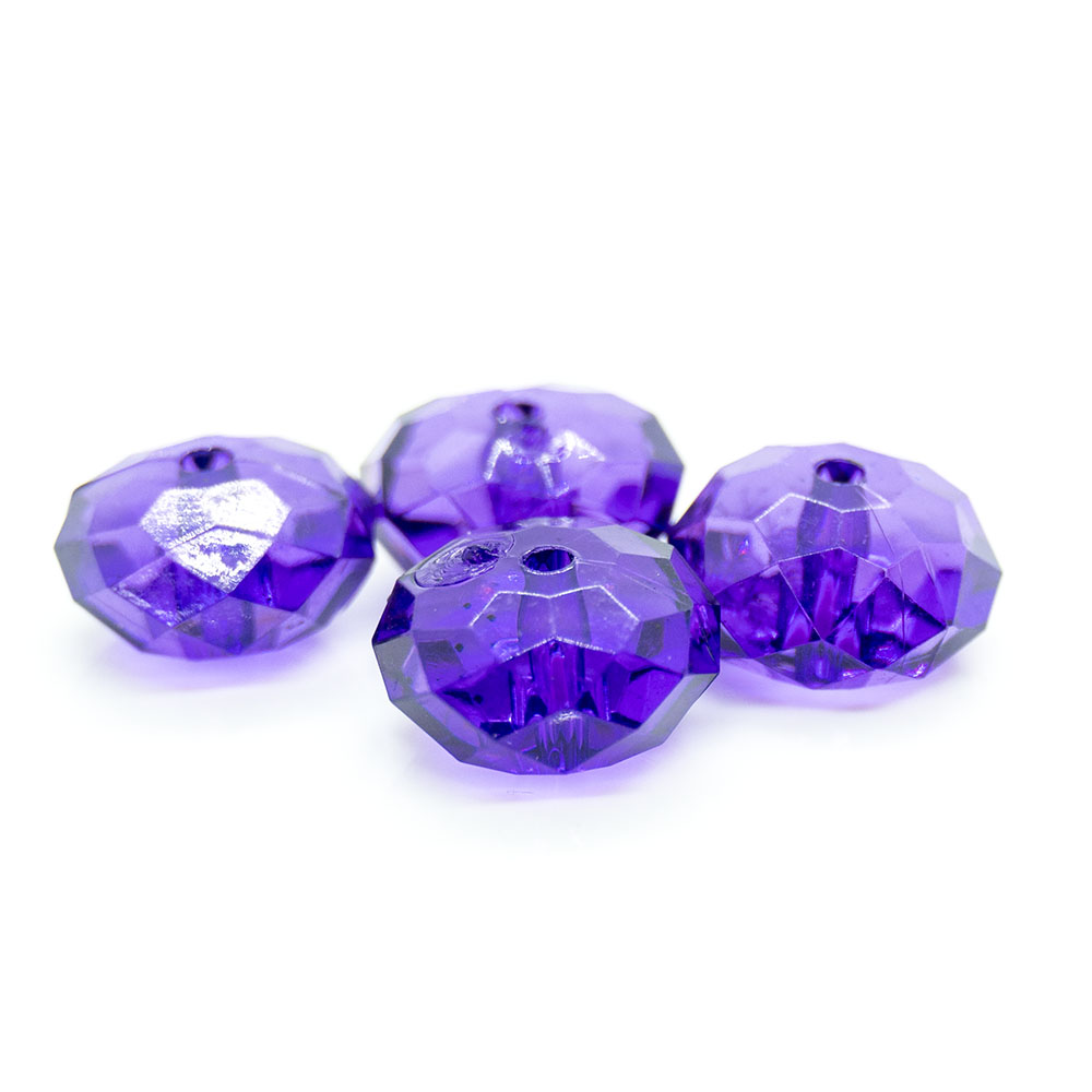 Acrylic Faceted Rondelle - 12x7mm - 1pc