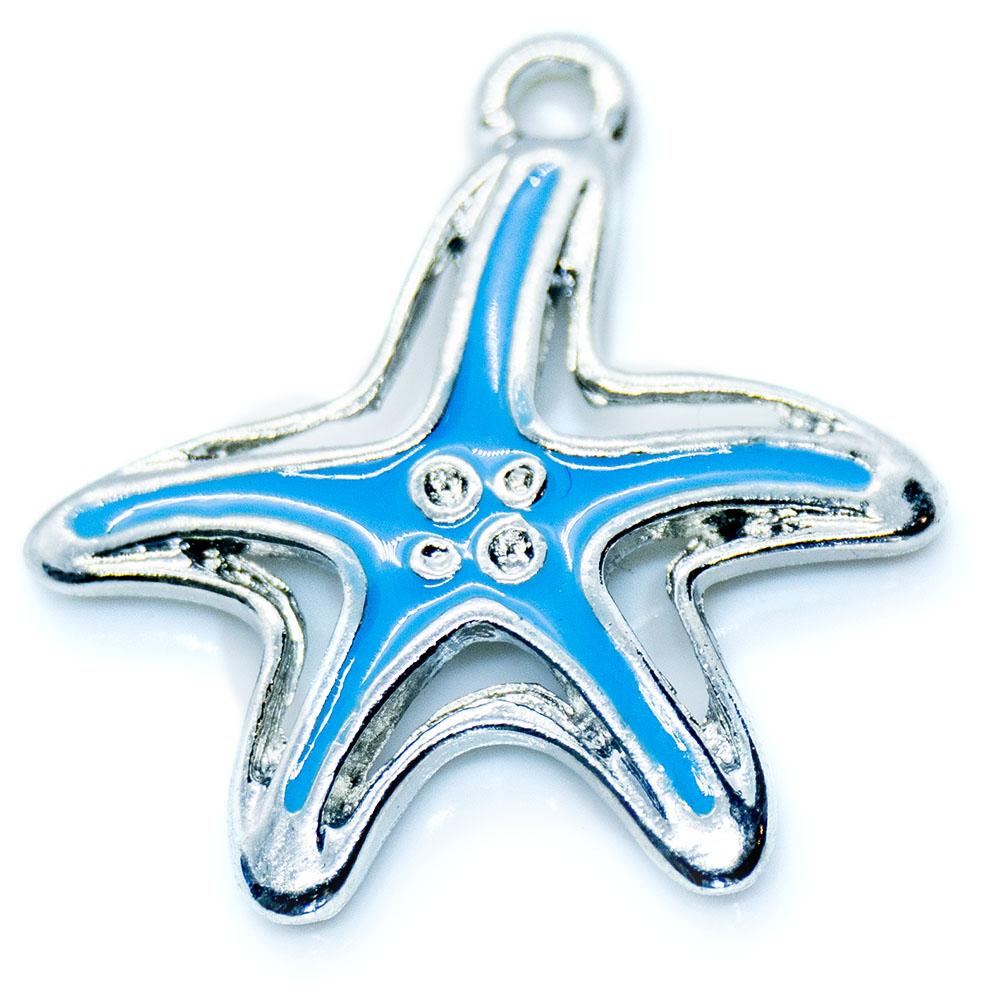 Enamel Starfish Pendant - 20x19mm - 1pc