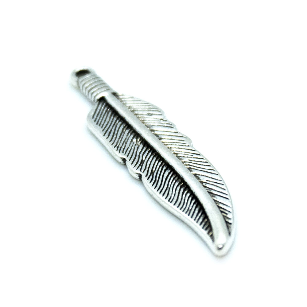 Feather Charm - Lead, Cadmium and Nickel Free - 40x12mm - 1pc