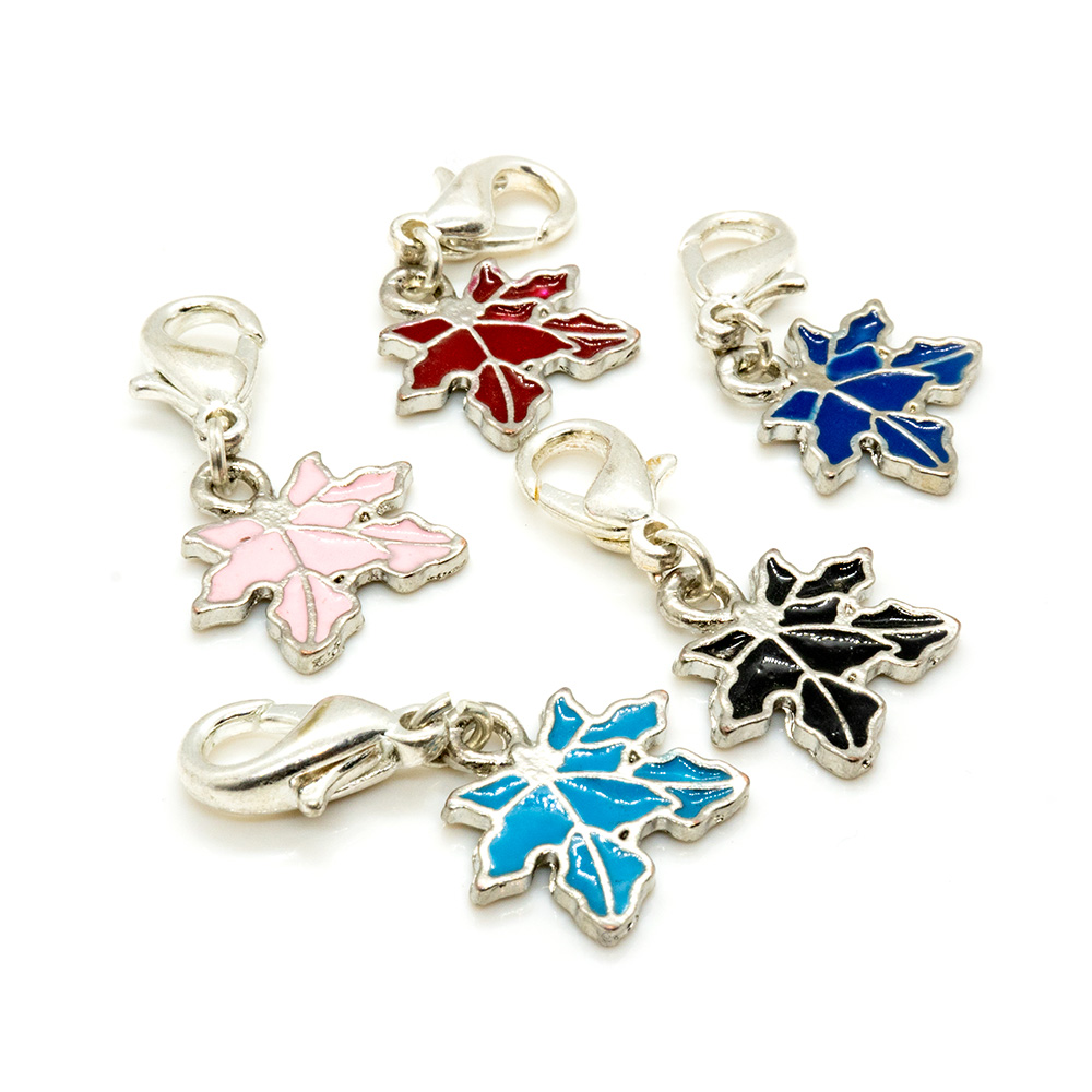 Leaf Enamel Charm with Lobster Clasp - 25x15mm - 1pc