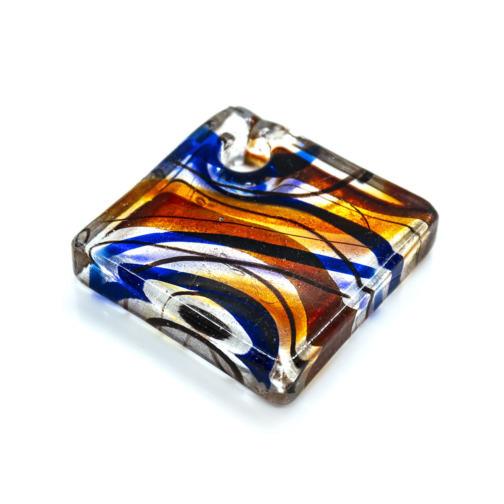 Murano Diamond Lampwork Glass Pendant - 47x47mm