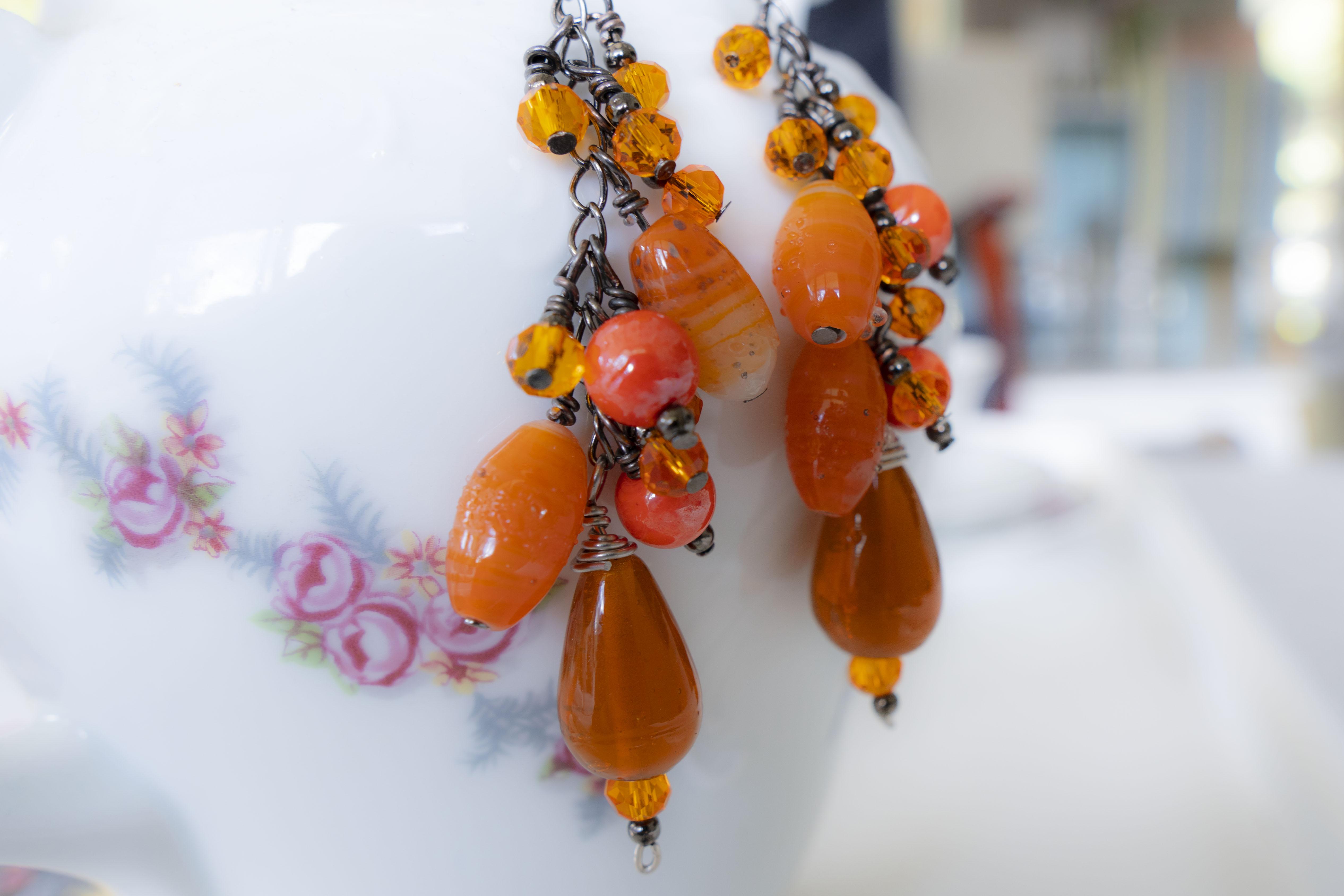 Orange Chain Earrings