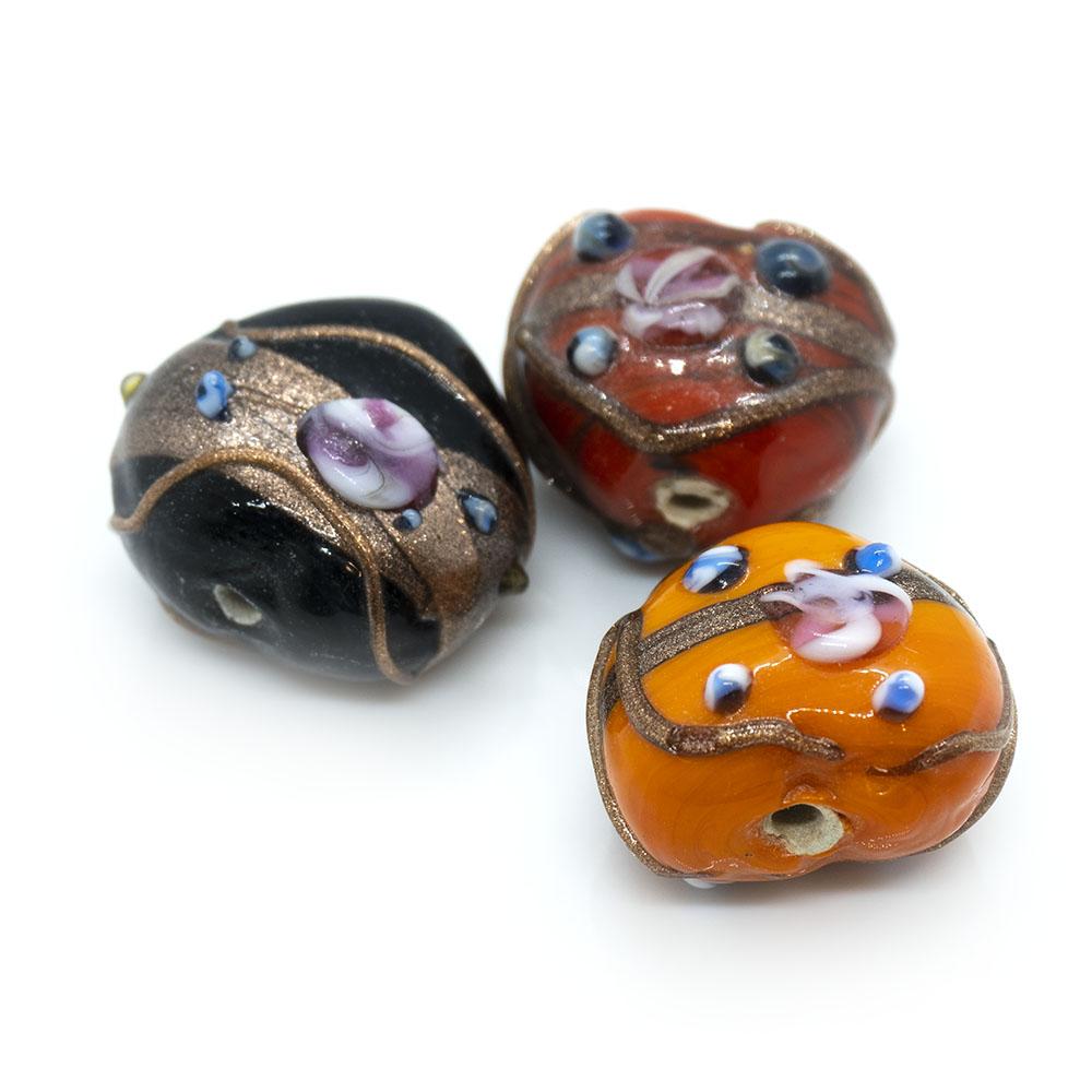 Indian Glass Lampwork Heart - 18x16mm - 1pc