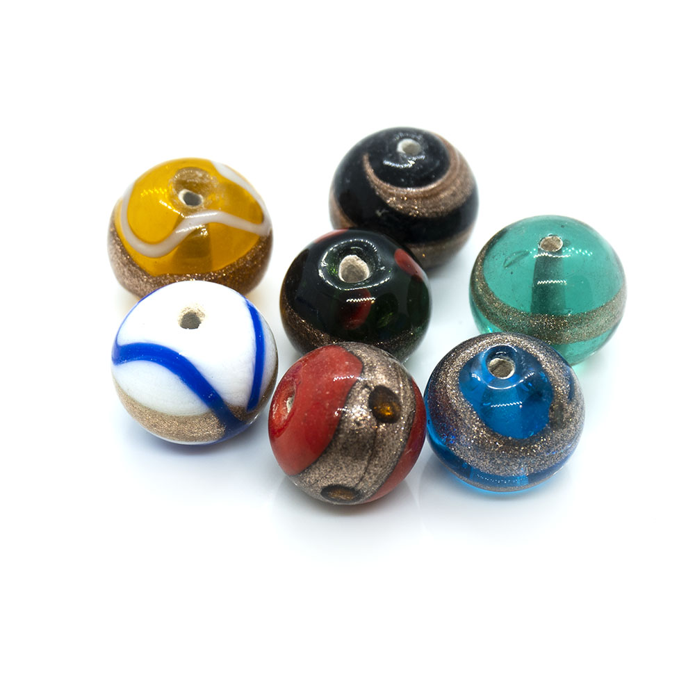 Indian Glass Lampwork Round Bead with Gold Lines - Approximately 12mm - 1pc