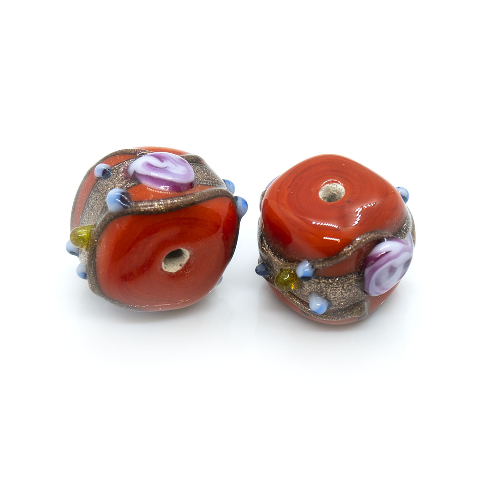 Indian Glass Lampwork Square Bead - 15x11mm - 1pc