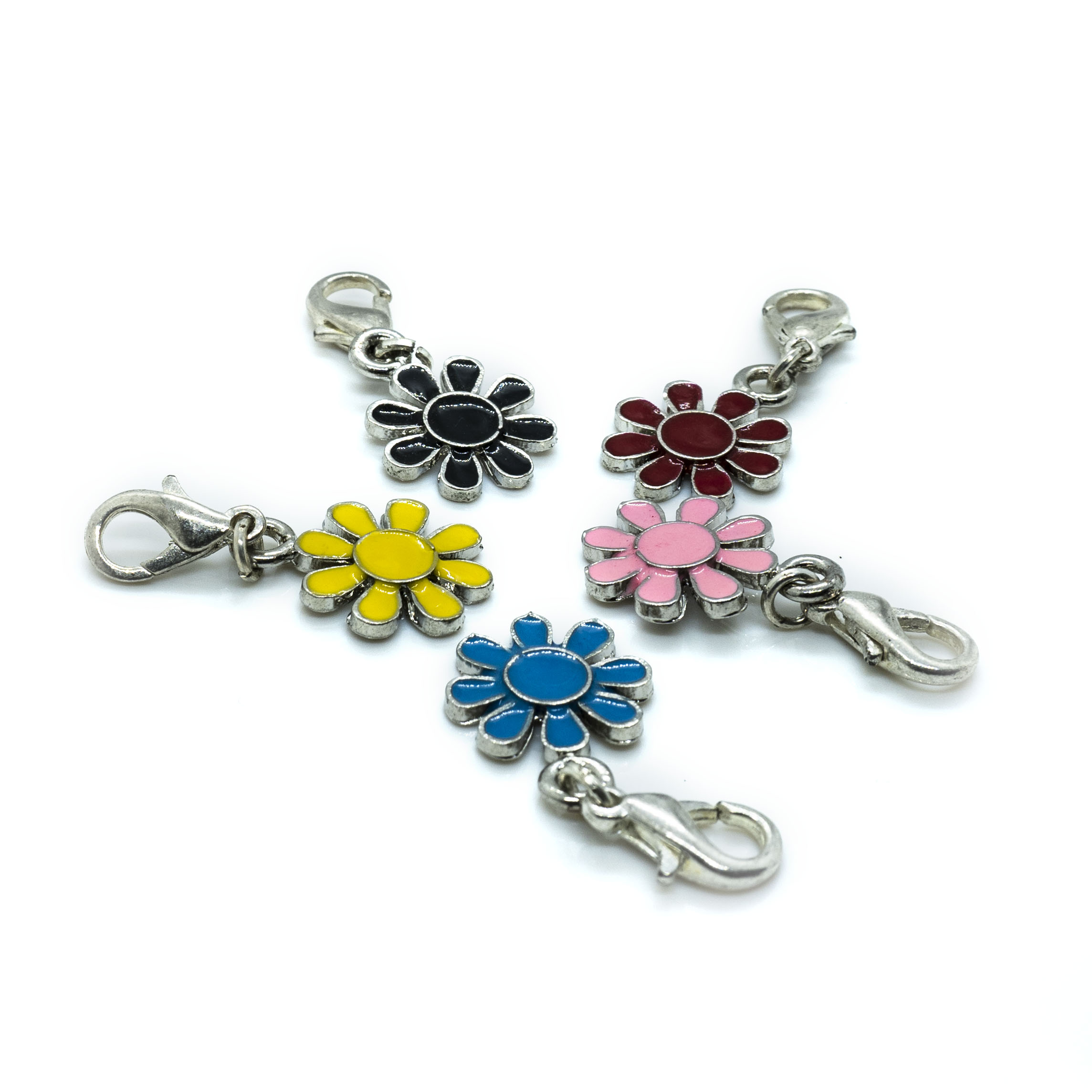 Flower Enamel Charm with Lobster Clasp - 30x14mm - 1pc
