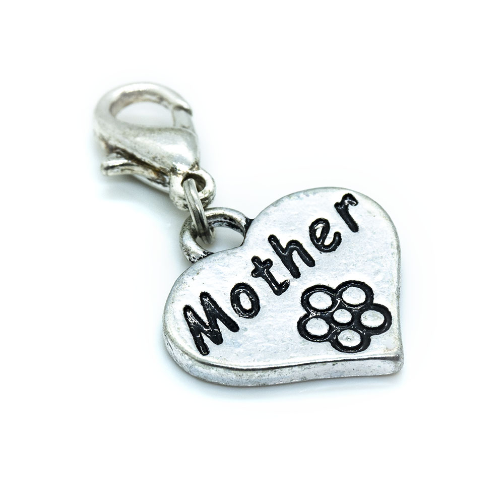 Heart Mother Charm with Lobster Clasp - 30x18mm - 1pc