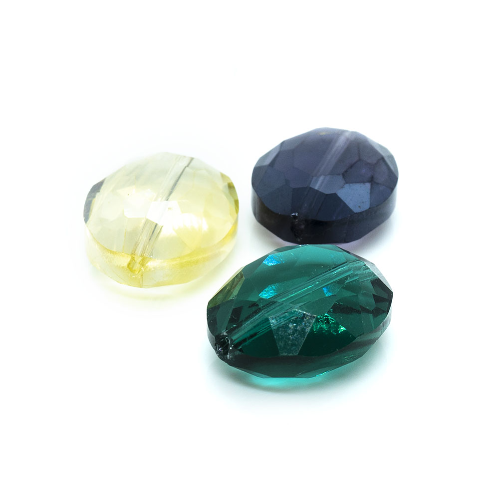 Flat Oval Faceted Transparent Glass Bead - 20x15x8mm - 1pc