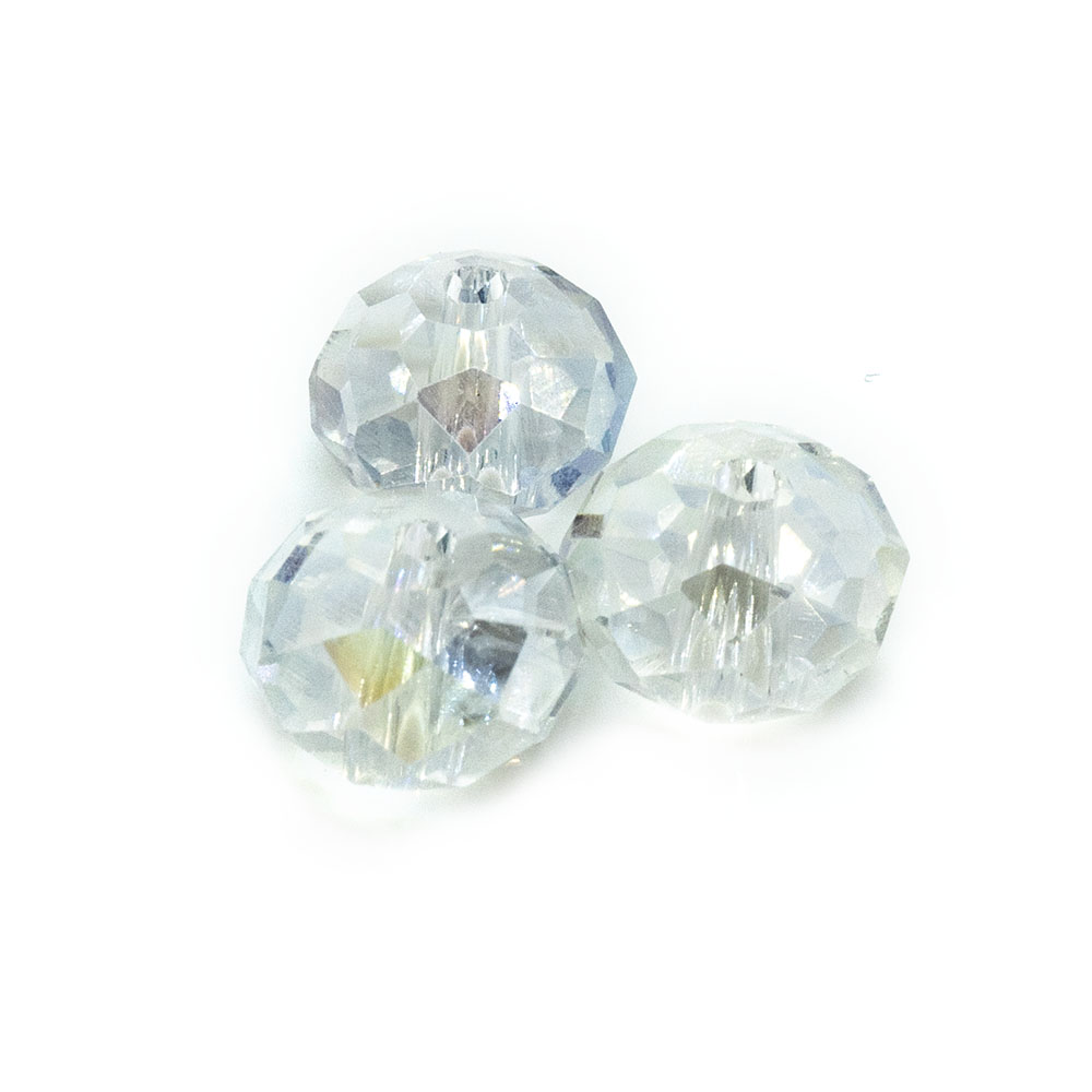 Chinese Crystal Glass Rondelle - 8x6mm - 10pc