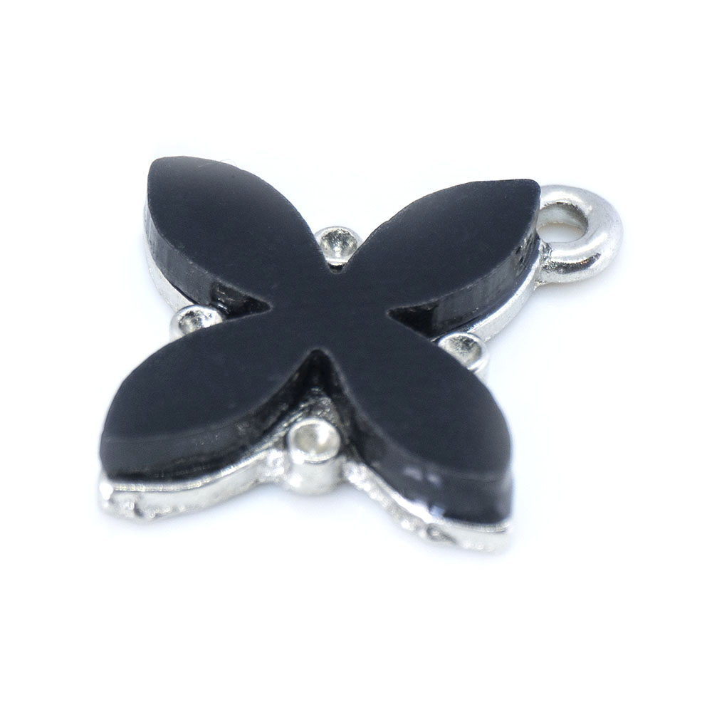 Acrylic and Silver Flower Charm - 22x19mm - 1pc