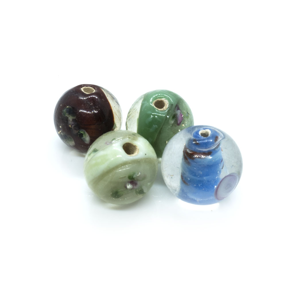 Indian Glass Lampwork Round - 14mm - 1pc