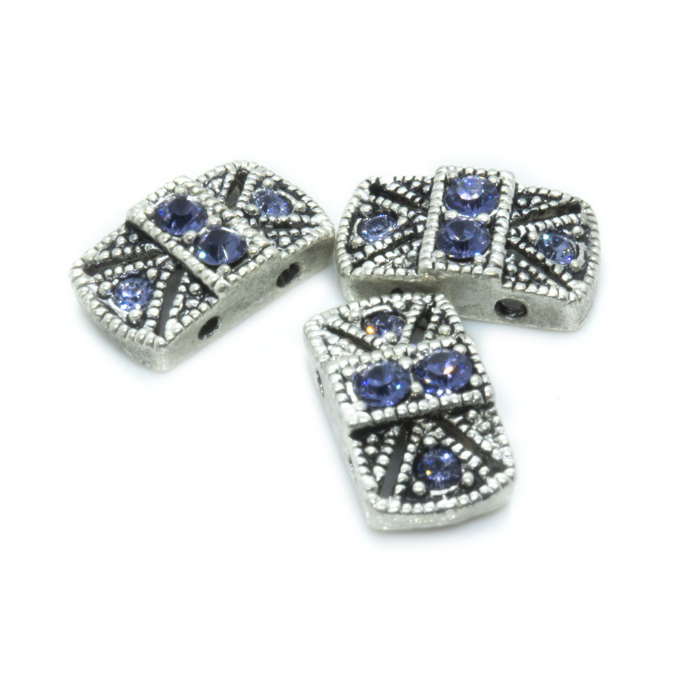 Spacer Bead with Swarovski Rectangle 14mm x 8mm x 4mm