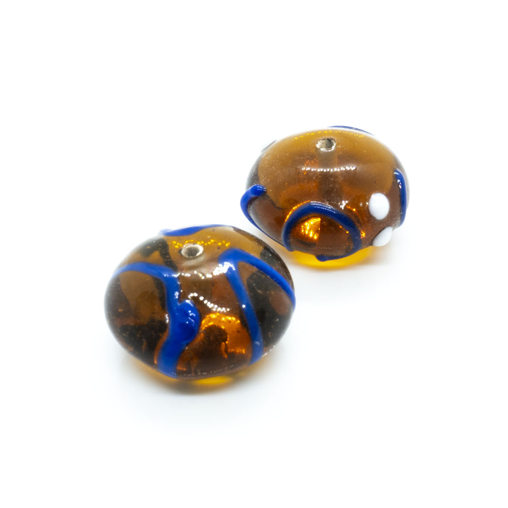 Indian Glass Lampwork Rondelle - 18x10mm - 1pc
