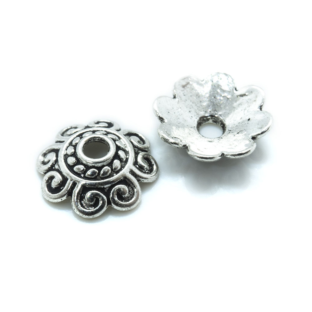 Tibetan Style Bead Caps Multi-Petal Flower - 10mm - 5pc