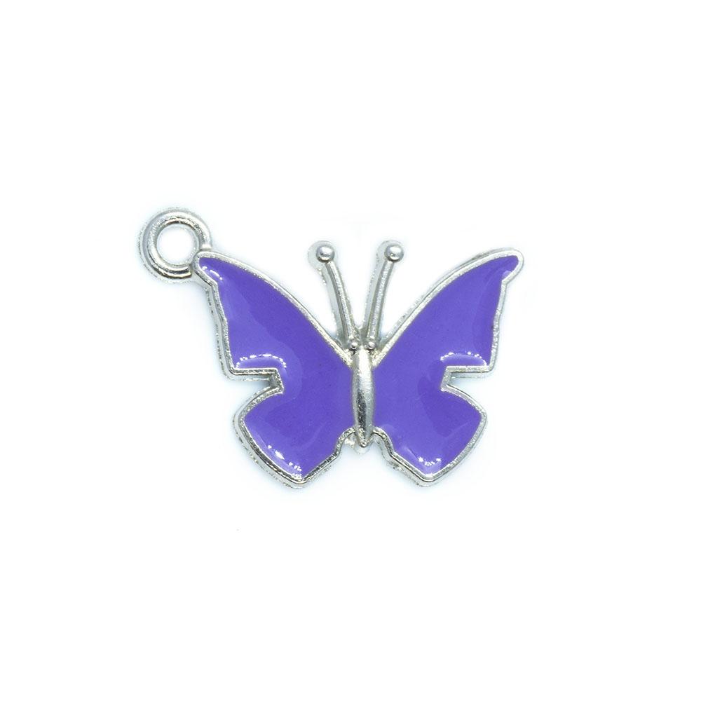 Enamel Butterfly Charm - 21x14.5x1.5mm - 1pc