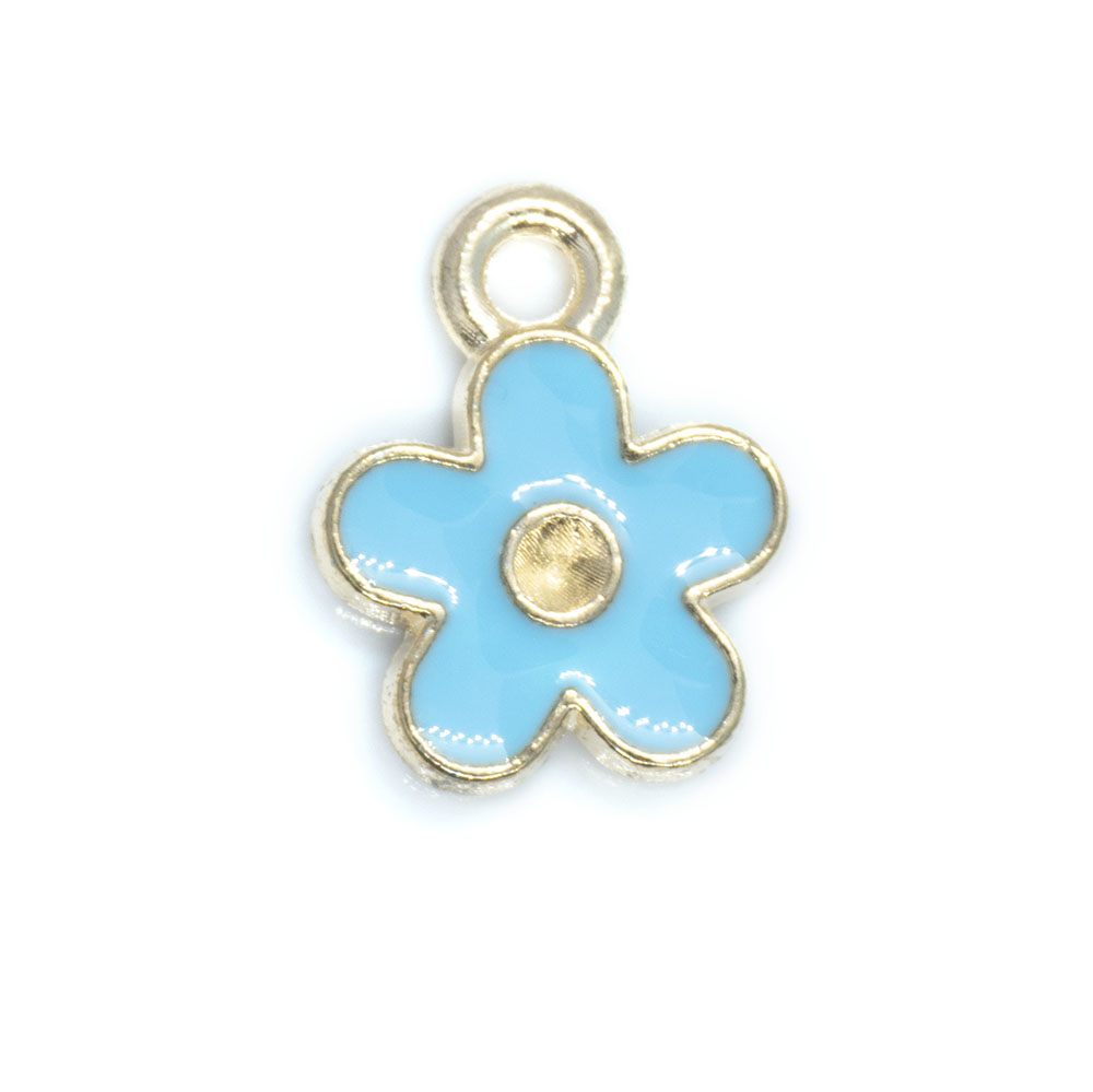 Enamel Flower Charm Rhinestone Setting - 12.5x10x2mm - 1pc