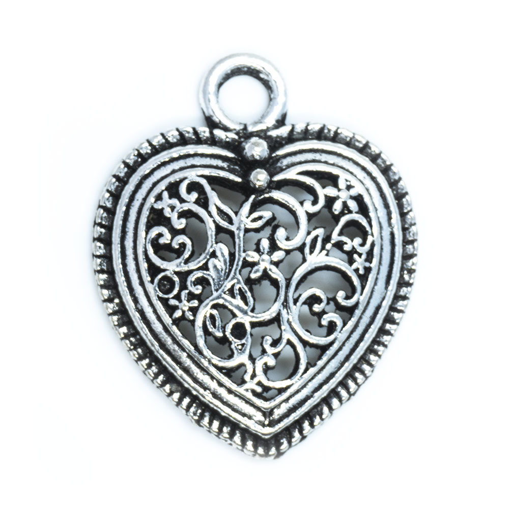 Tibetan Style Filigree Heart Pendant - 30x24x4.5mm - 1pc