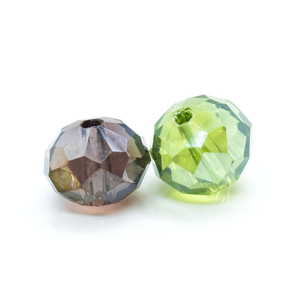 Electroplated Glass Faceted Rondelle - 8x6mm - 1pc