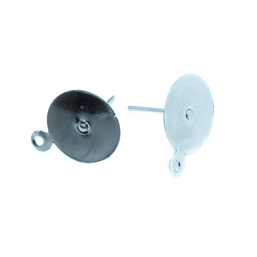 Earring Stud Post with Loop - 15x12mm - 1pr