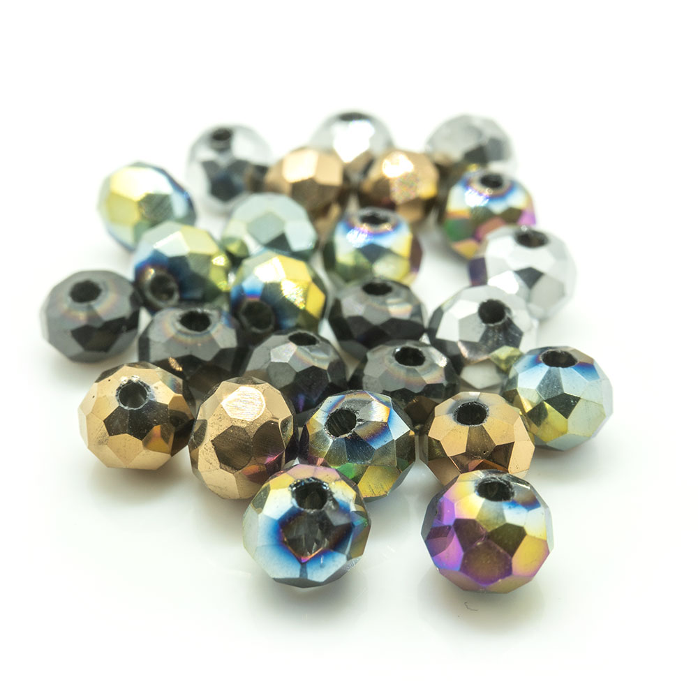 Electroplated Glass Faceted Rondelle - 4x3mm - 20pc