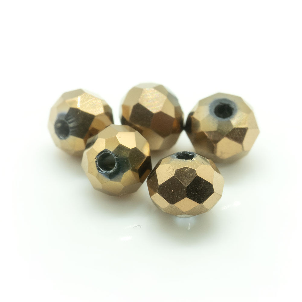 Electroplated Glass Faceted Rondelle - 4x4mm - 20pc
