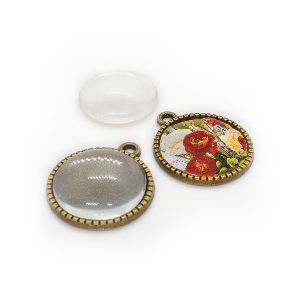 Pendant Cabochon Settings with Clear Glass Flat Round 22mm x 18.5mm x 2mm
