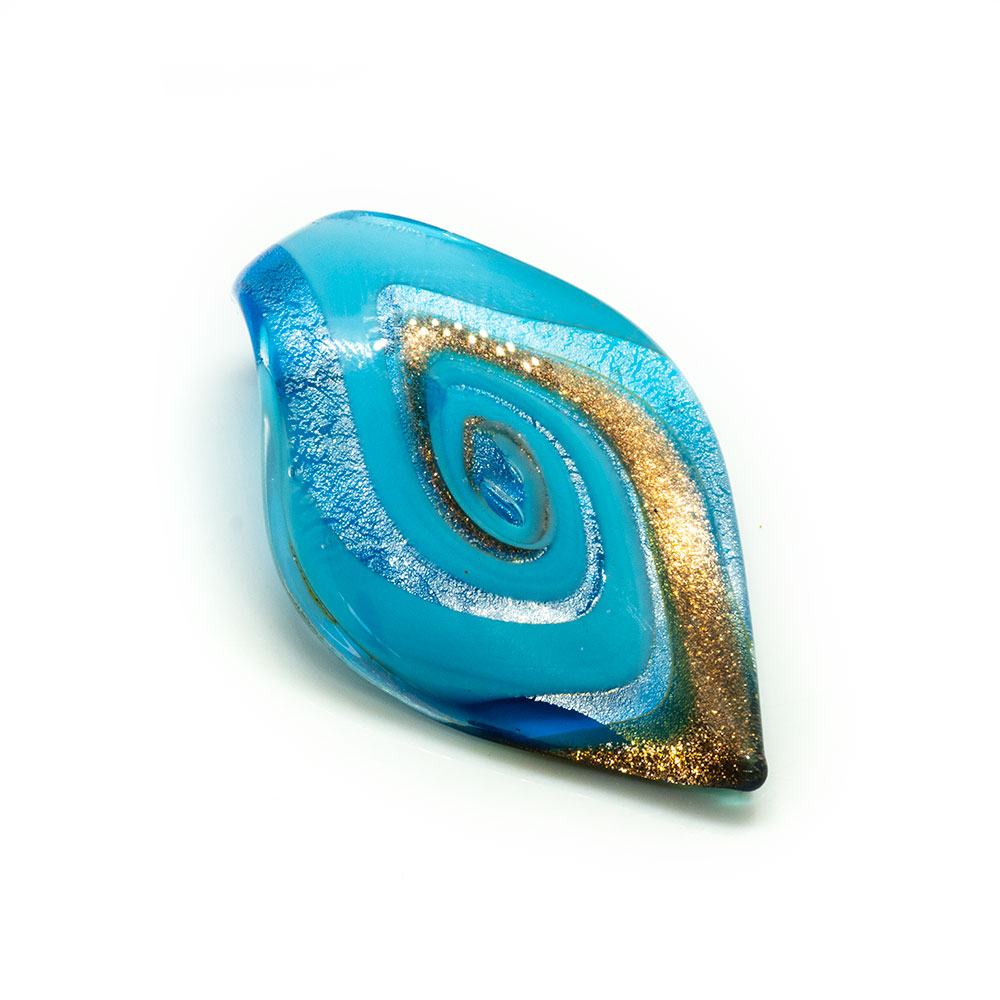 Murano Lampwork Pendant - Tongue Swirl 64mm x 36mm