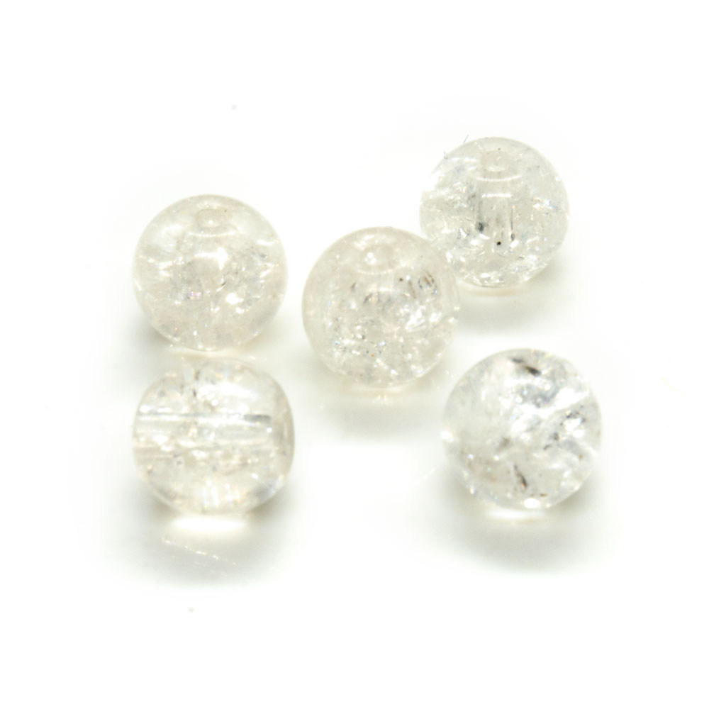 Glass Crackle Beads - 8mm - 10pc