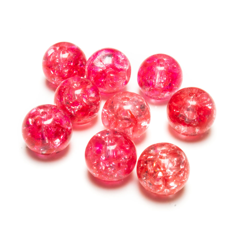 Glass Crackle Beads - 10mm - 10pc