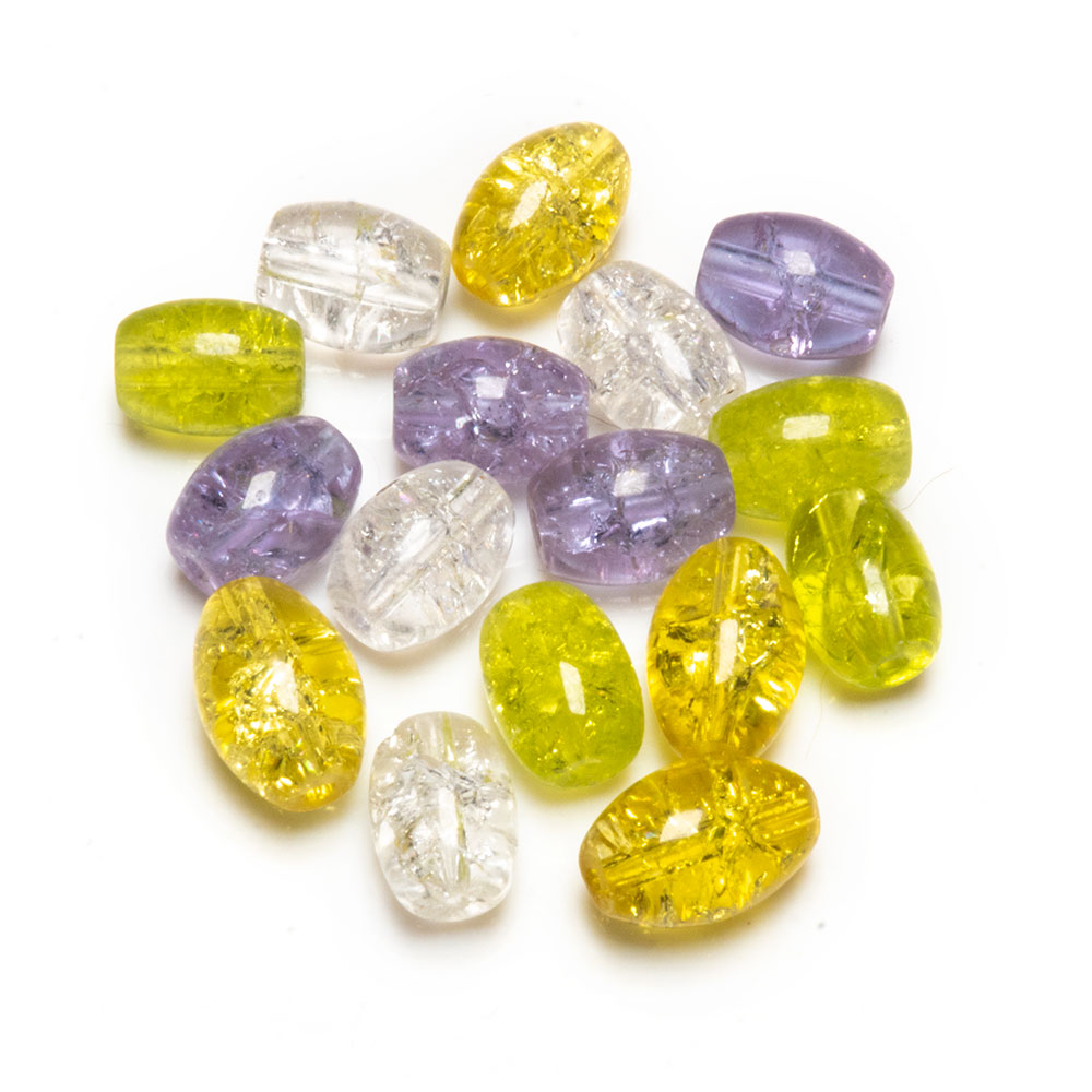 Glass Crackle Oval Beads - 6x8mm - 20pc