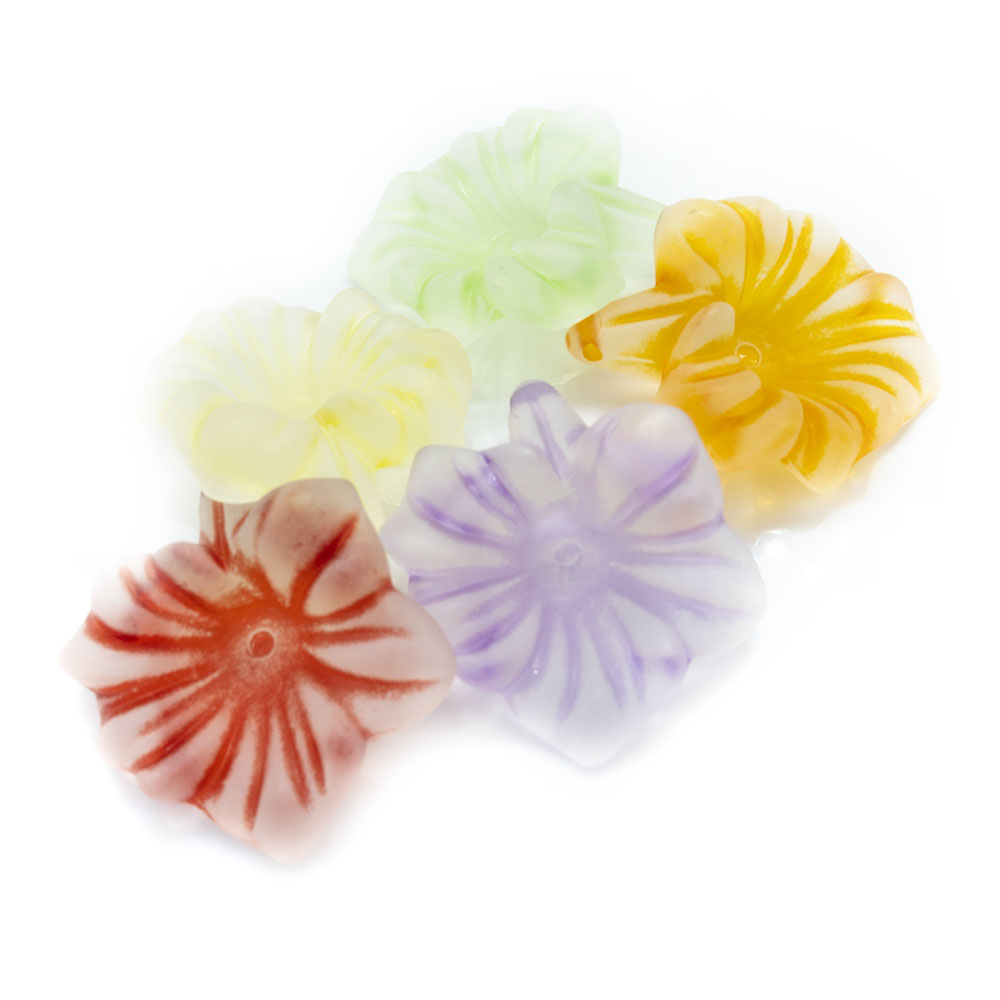 Acrylic Lucite Frosted Flower - Striped Lily - 31x28mm - 1pc