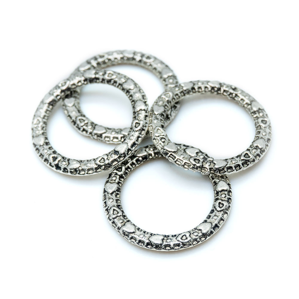 Closed Textured Metal Ring - 14mm - 2pc