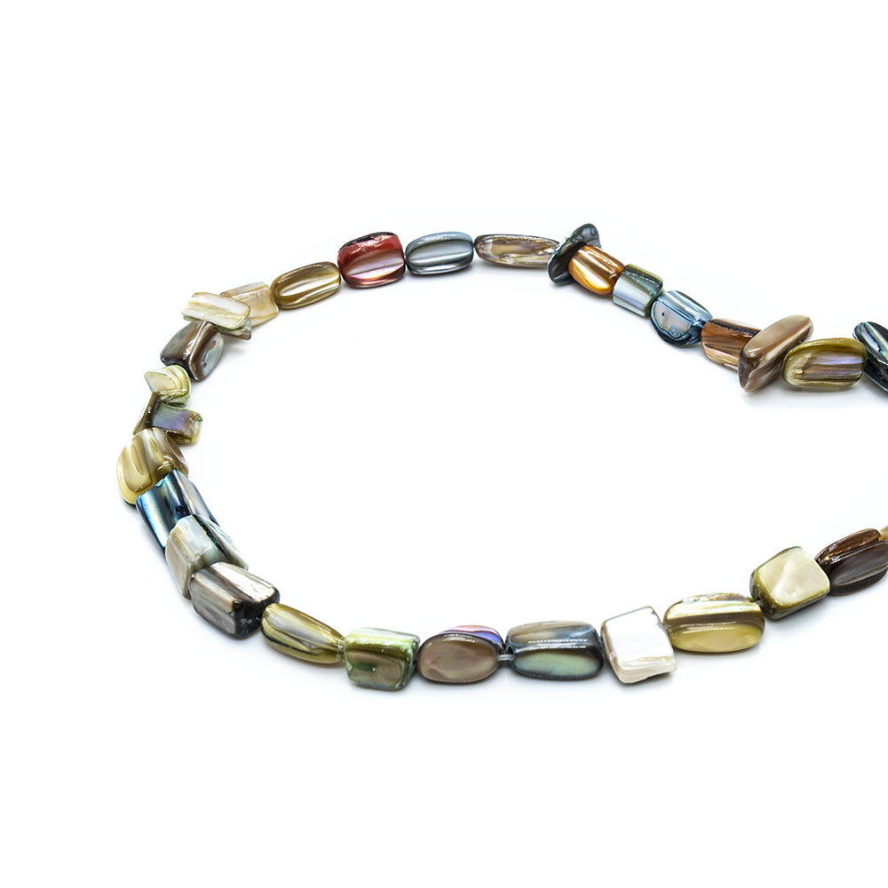 Mother of Pearl Pieces - Mixed Size Rectangular Pieces - 40cm Strand