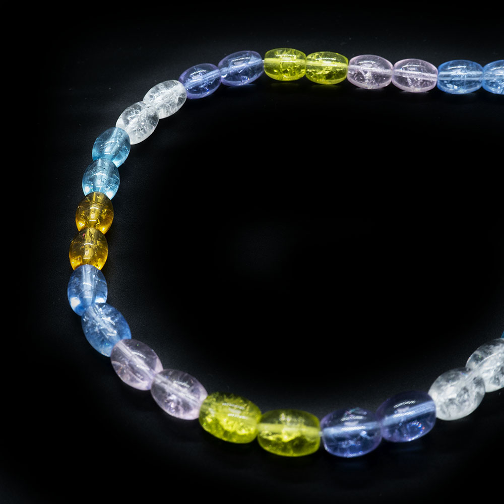 Glass Crackle Oval Beads - 6x8mm - 40cm Strand