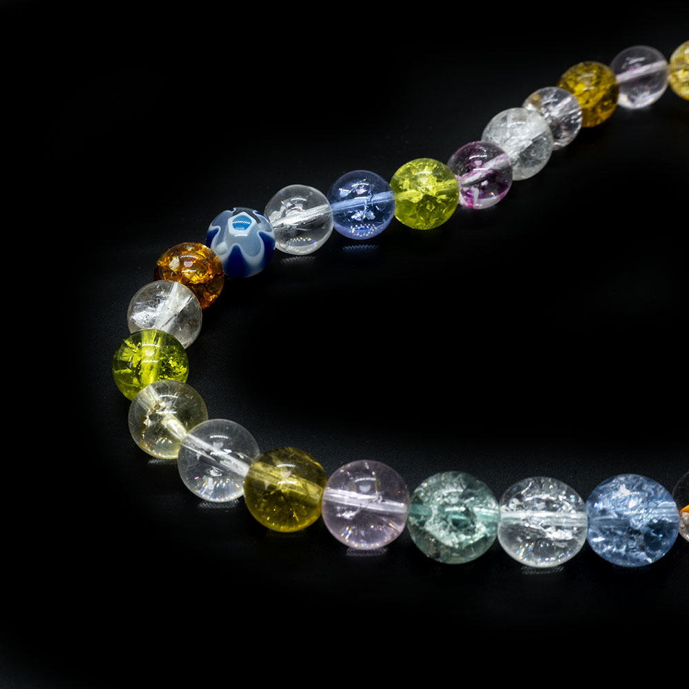 Glass Crackle Mixed Strand - 10mm - 40cm Strand
